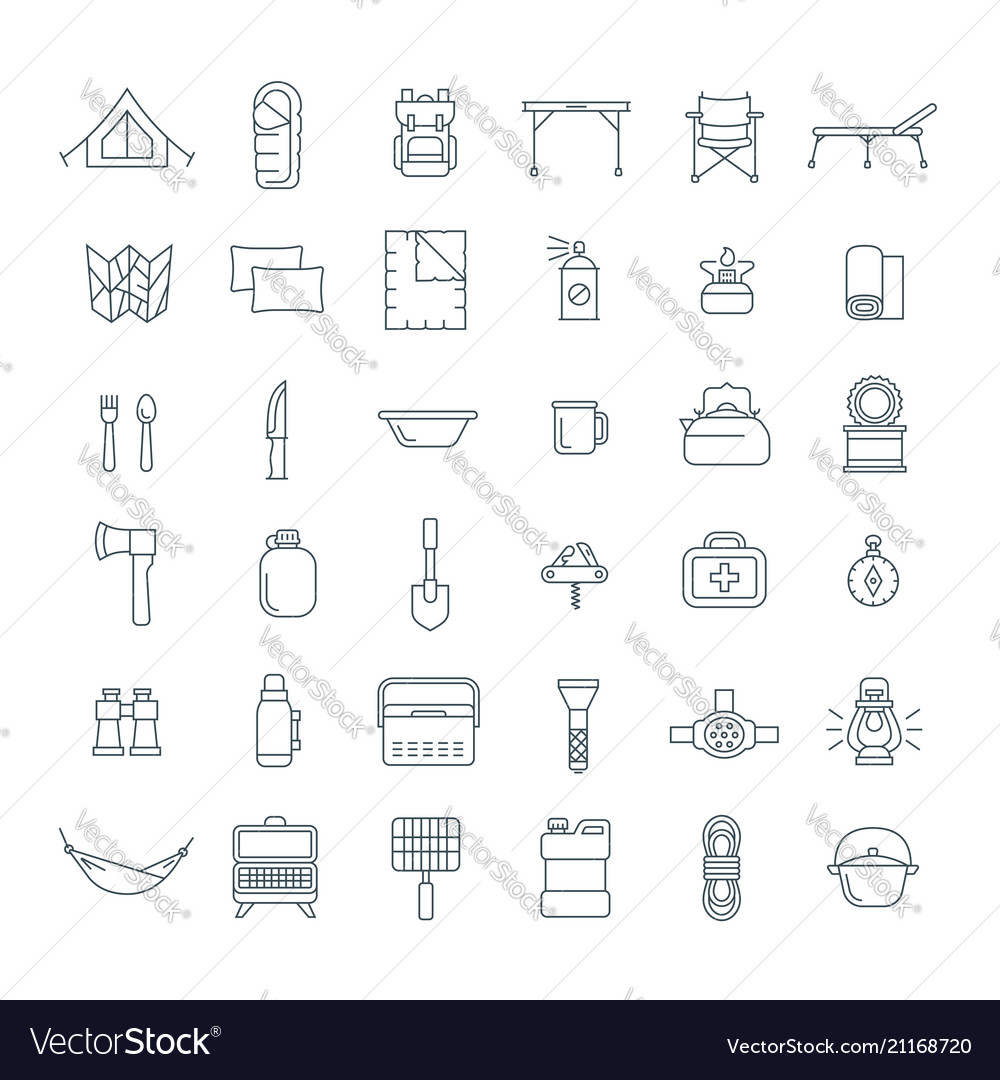 Tourist equipment for hiking outline icons set