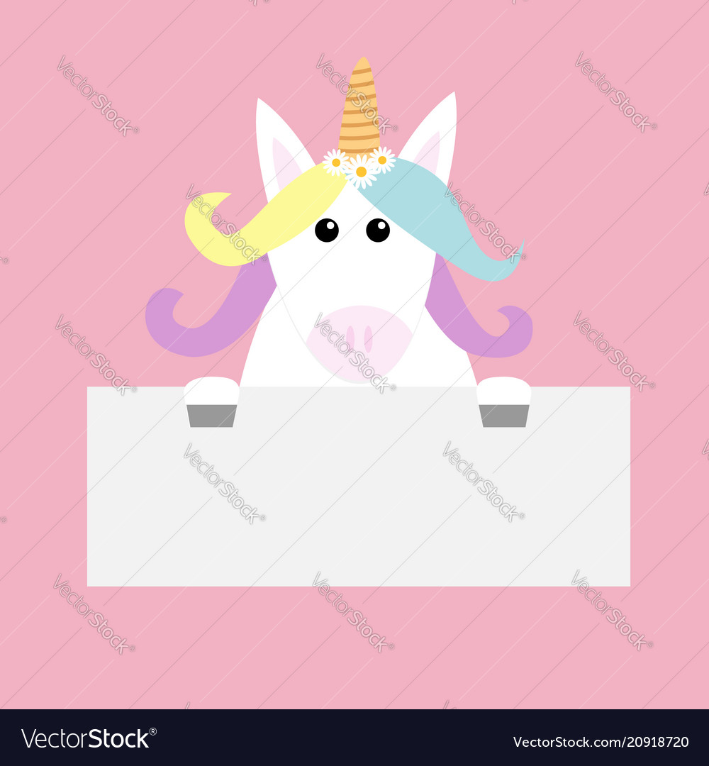 unicorn head face hanging on paper board template vector image