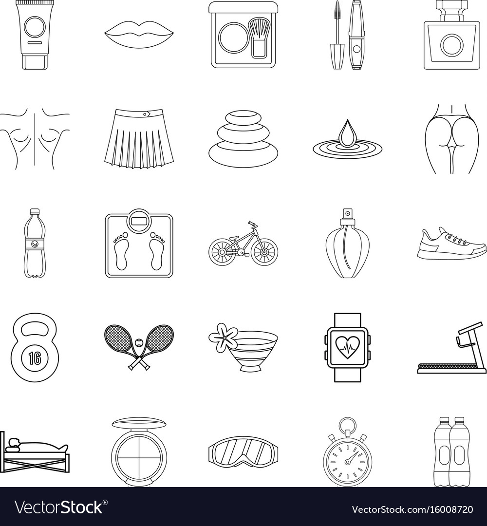 Yoga icons set outline style vector image
