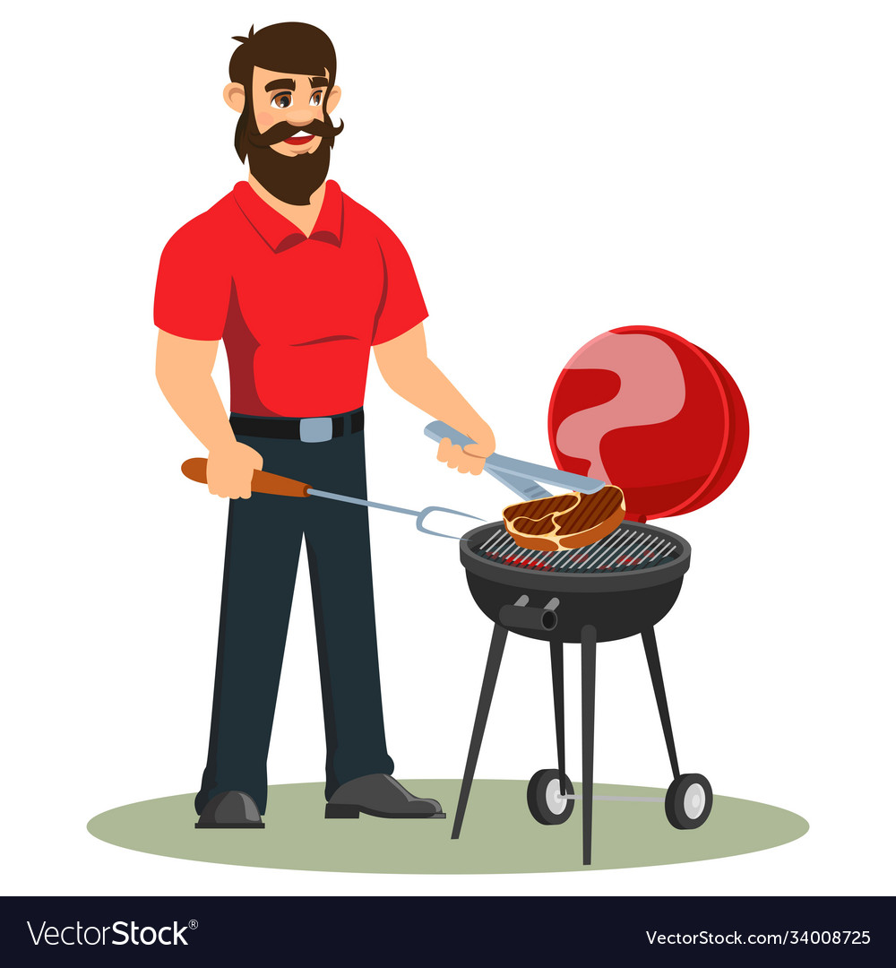A man is cooking barbecue in his backyard