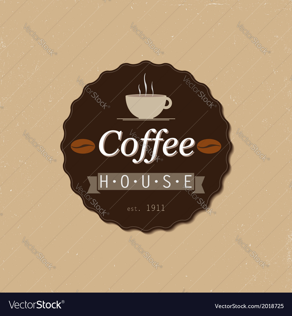 Coffee house badge vector image