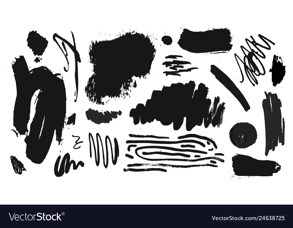 Collection of black paint ink brush
