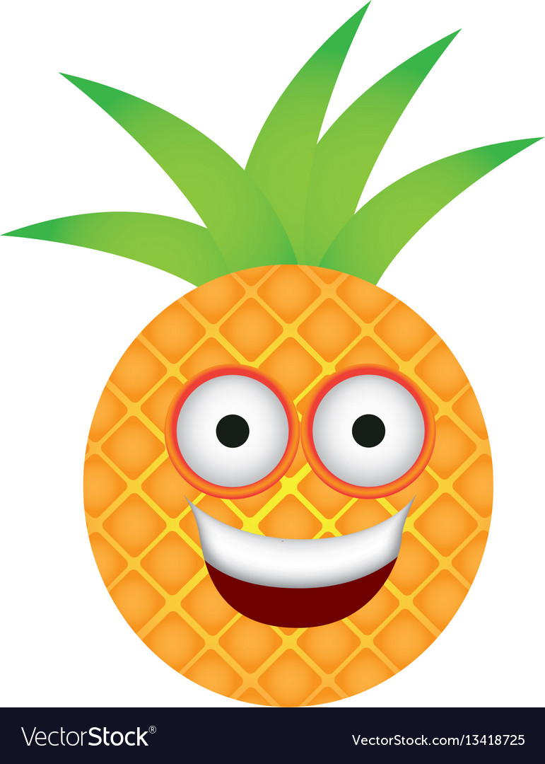 Color kawaii fruit pineapple happy icon