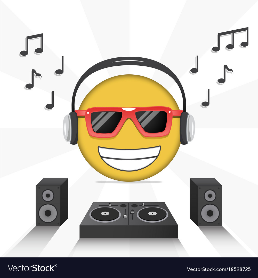 Emoji Poster Design With Music Icons Royalty Free Vector