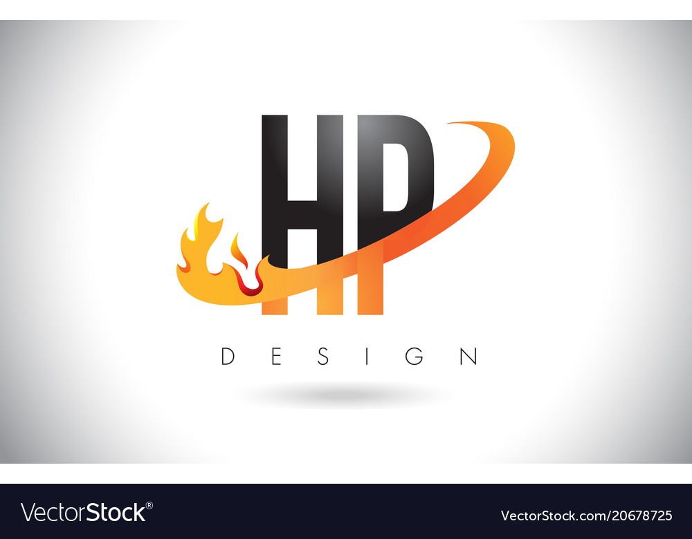 Hp H P Letter Logo With Fire Flames Design And