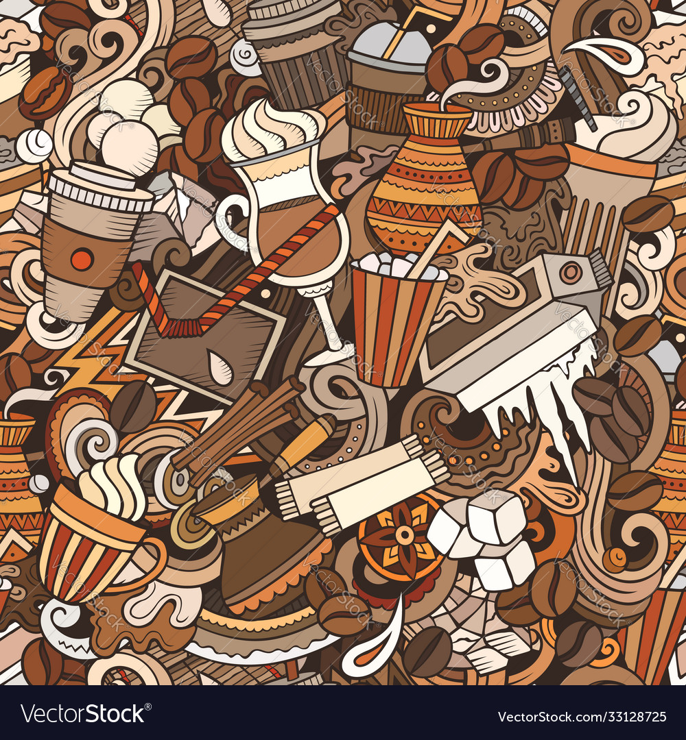 Iced coffee hand drawn doodles seamless pattern