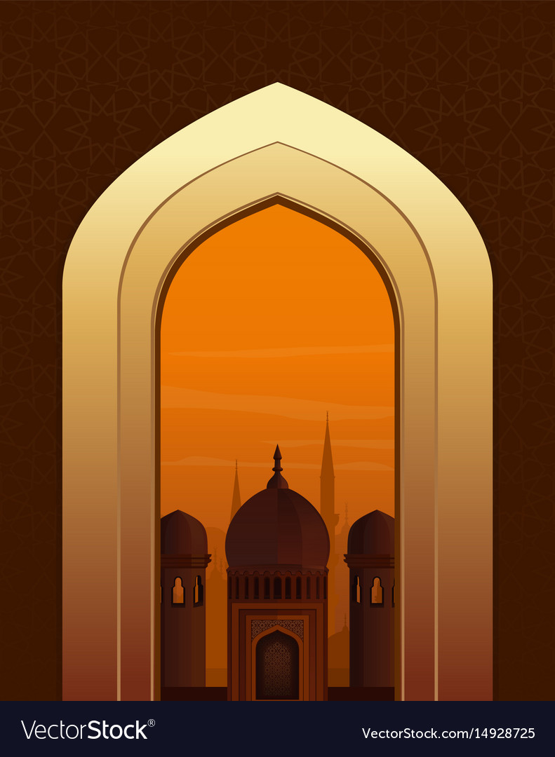 Islamic doorway view arabian night
