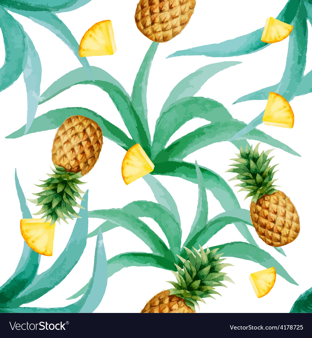 Pineapple and leaves seamless pattern watercolor