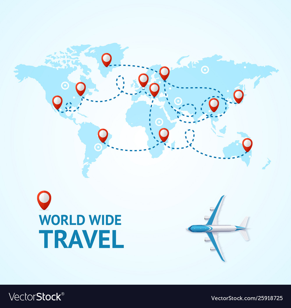 Realistic 3d detailed world wide travel concept
