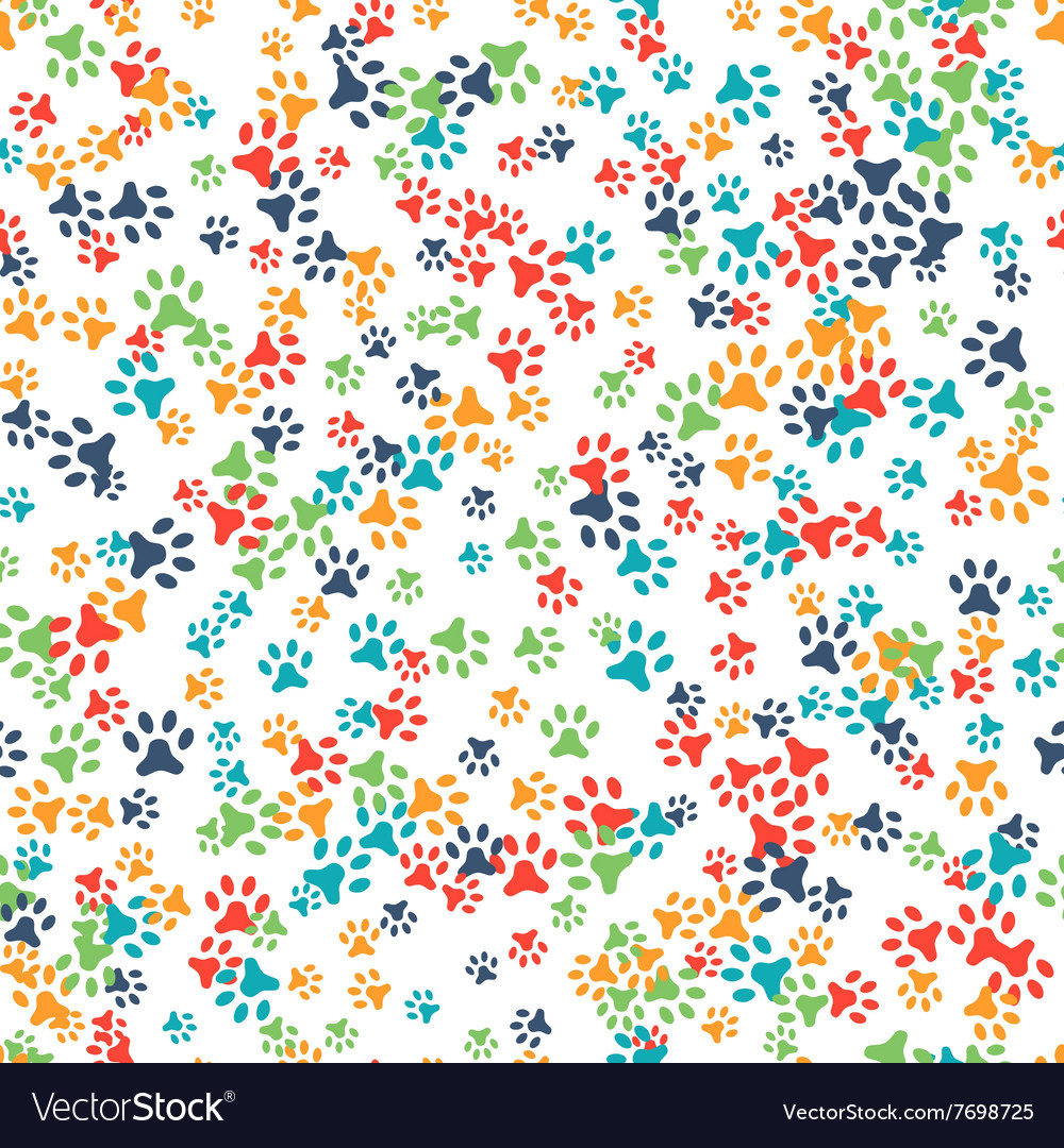 Seamless pattern with cat or dog footprints