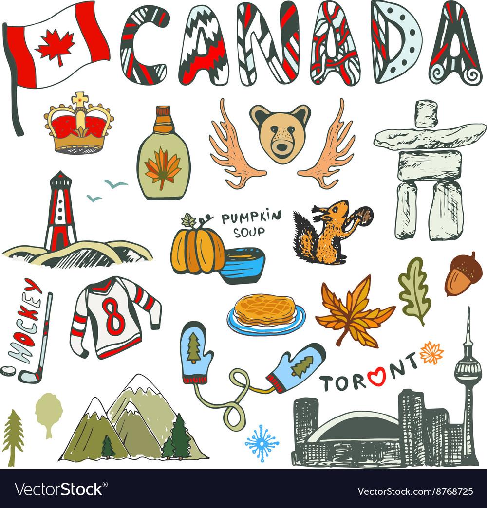 Sketch hand drawn collection of Canada symbols