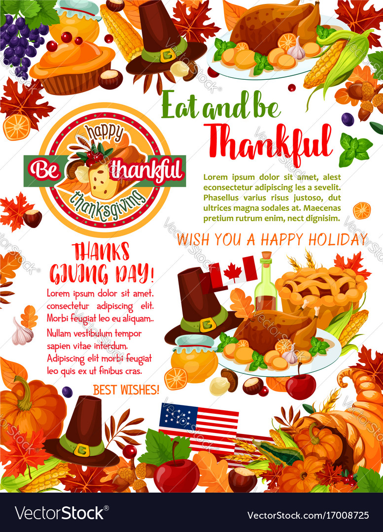 Thanksgiving day holiday greeting banner template vector image m4hsunfo