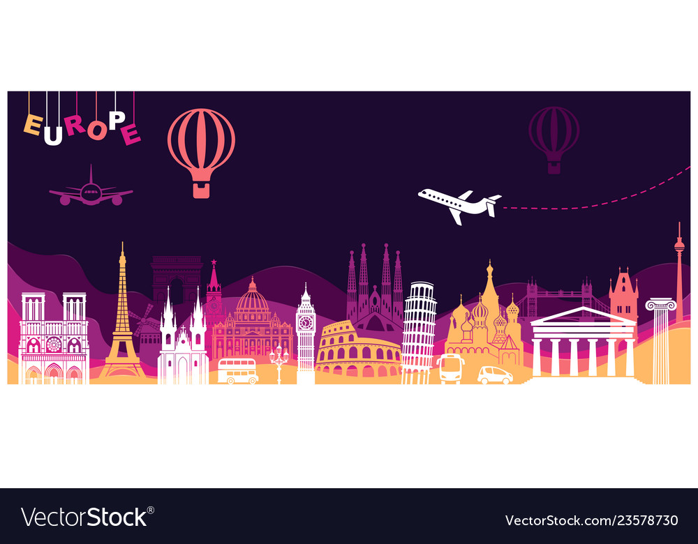 Abstract panorama of europe landmarks in style