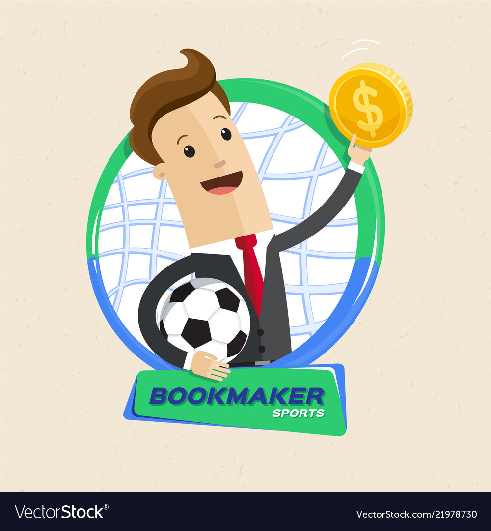 Bookmaker man with ball and money flat