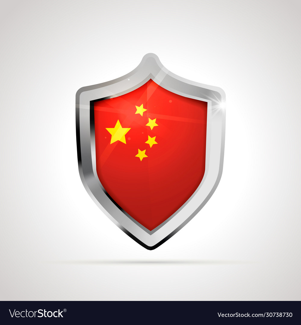 China flag projected as a glossy shield on a white