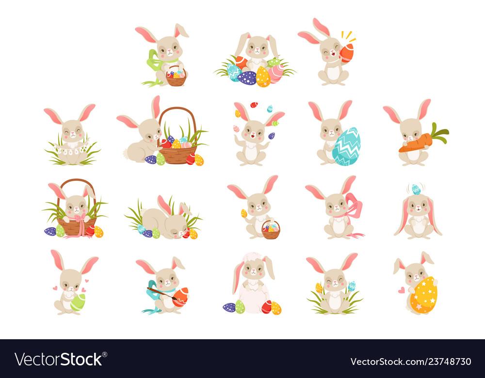 Cute cartoon bunnies holding colored eggs set