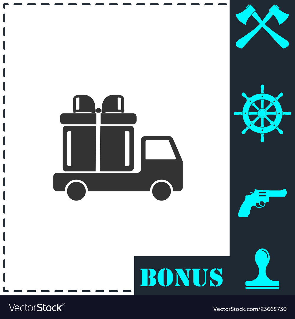 Delivery gift icon flat