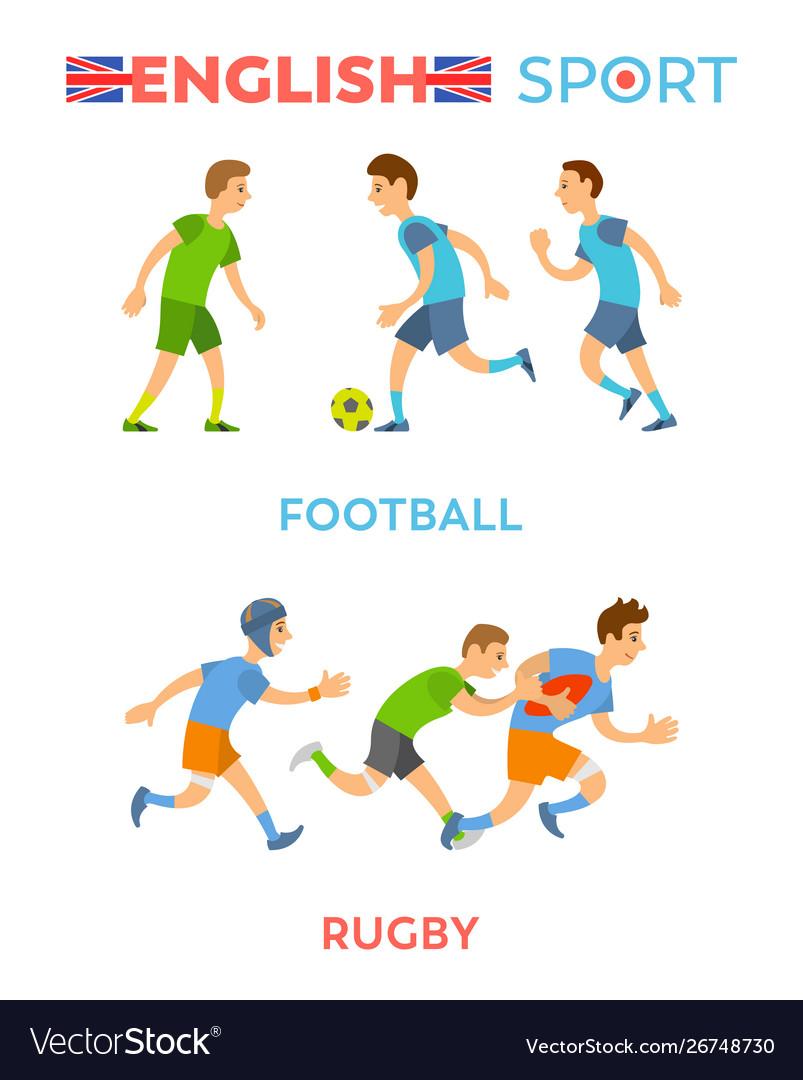 English sport football and rugplayers