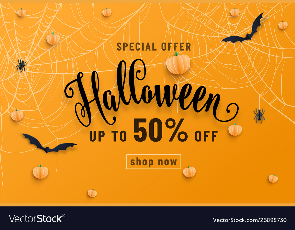 Halloween sale banner party invitation concept