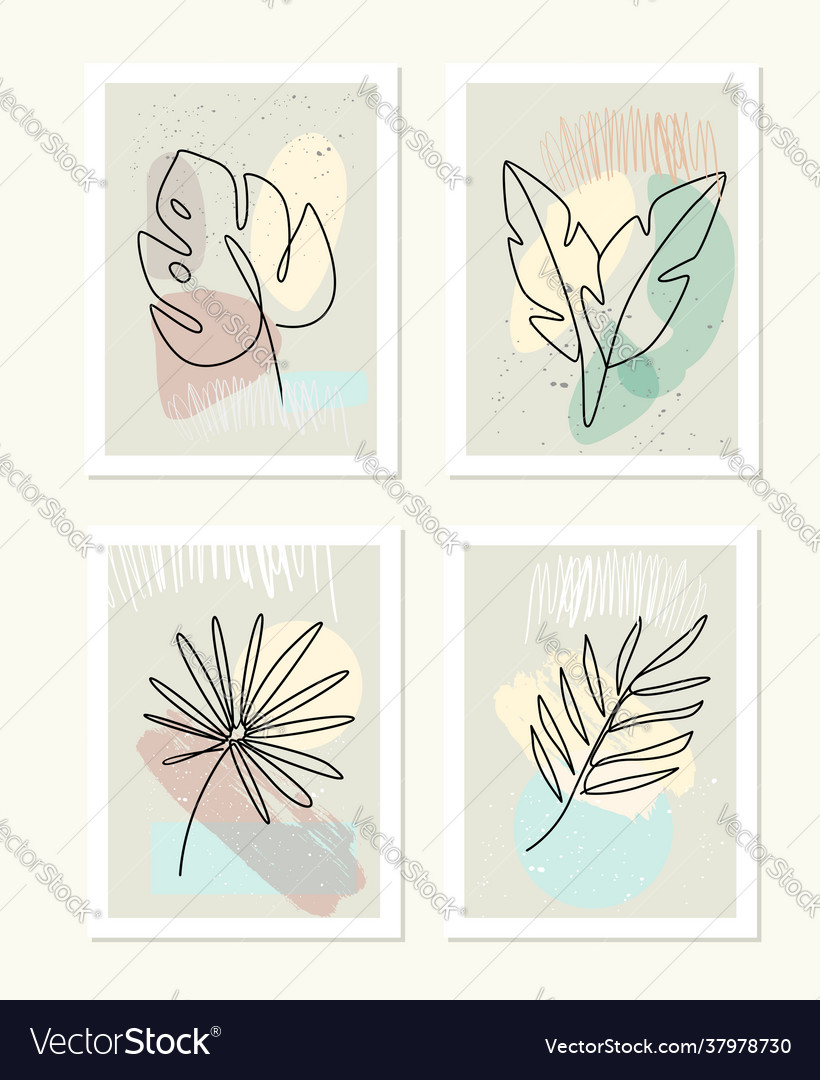 Line drawing leafs palm tree modern