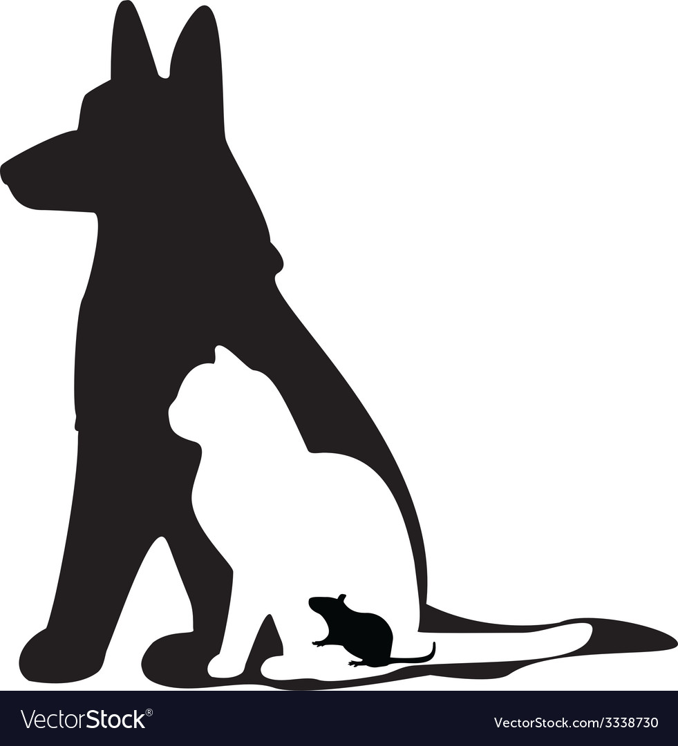 Mouse cat dog silhouette vector image