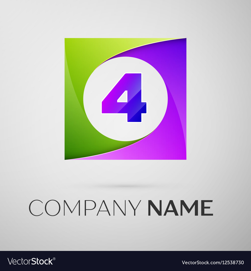 Number four logo symbol in the colorful square on