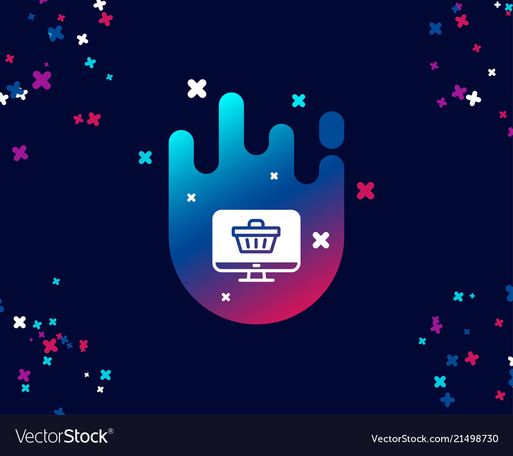 Online shopping cart simple icon monitor sign