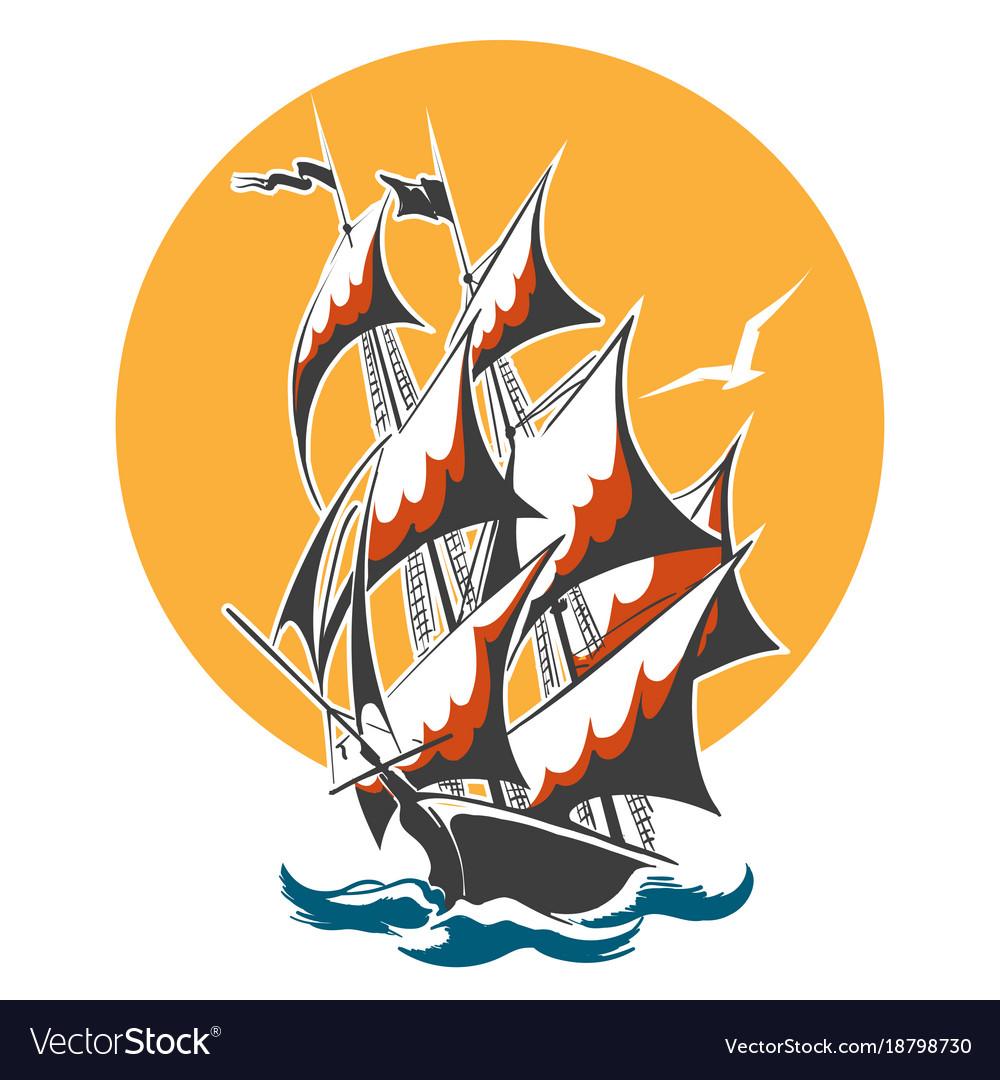 Sail ship colorful emblem