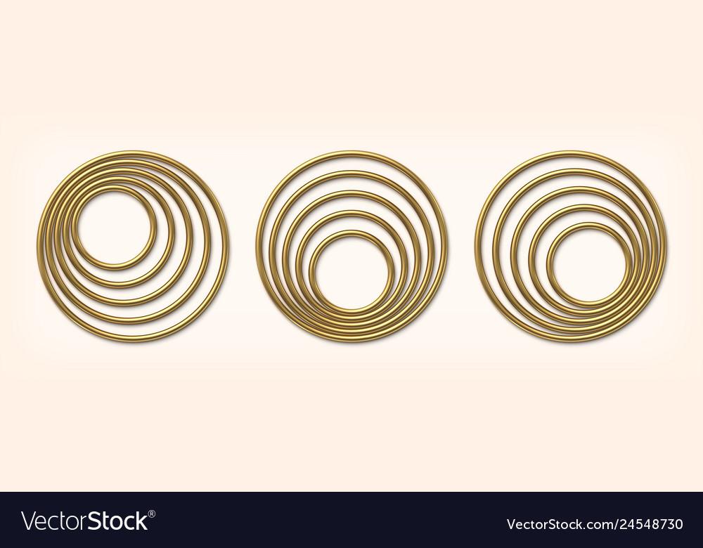 Set golden eccentric circle frames