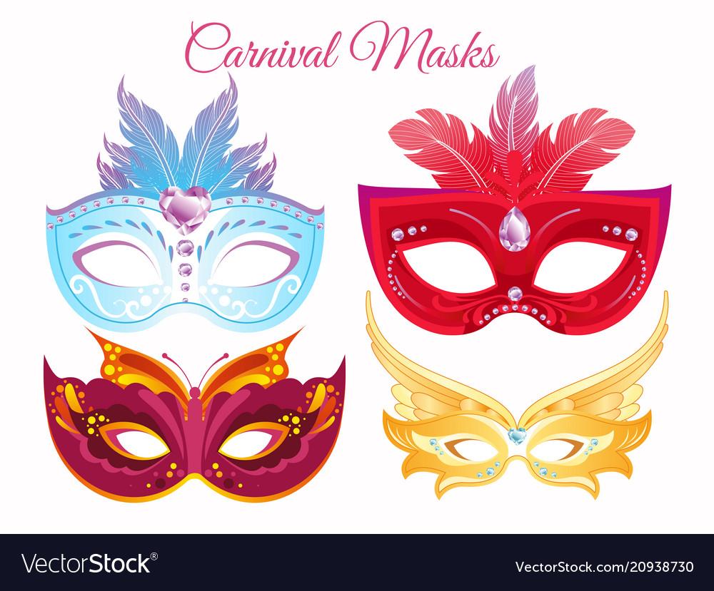 Set venetian painted carnival