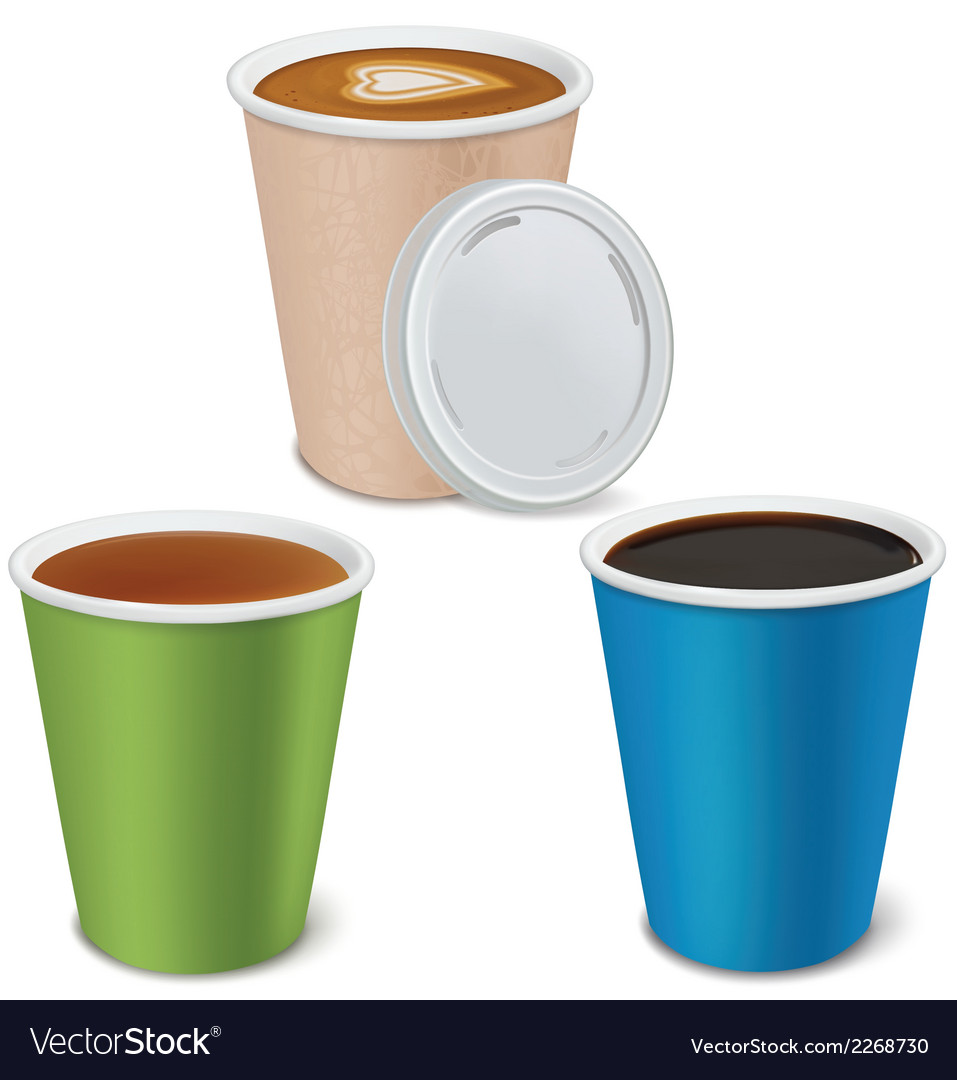 Tea Cuccino Coffee In Paper Cups Vector Image