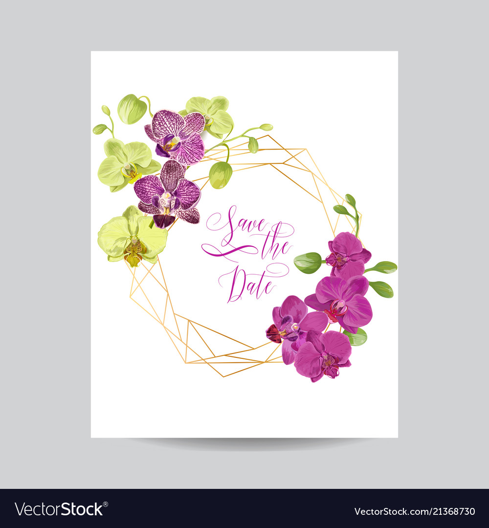 Wedding invitation layout template orchid flowers