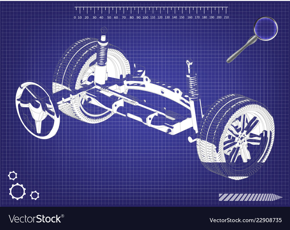 3d model of steering column and car suspension