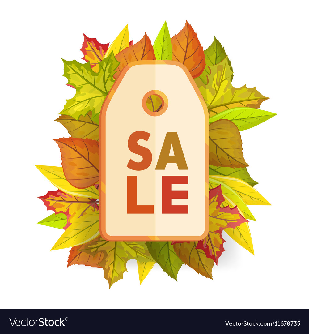 autumn sale tag label template fall pricetag vector image