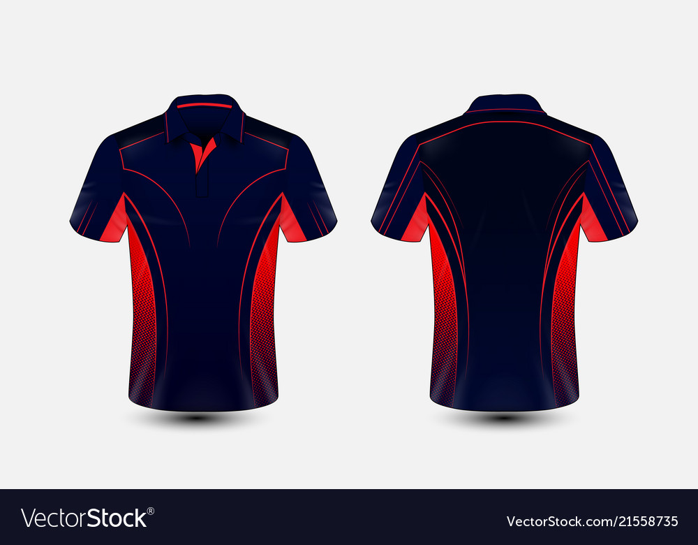 Sport T Shirt Design | Blue And Red Layout E Sport T Shirt Design Vector Image