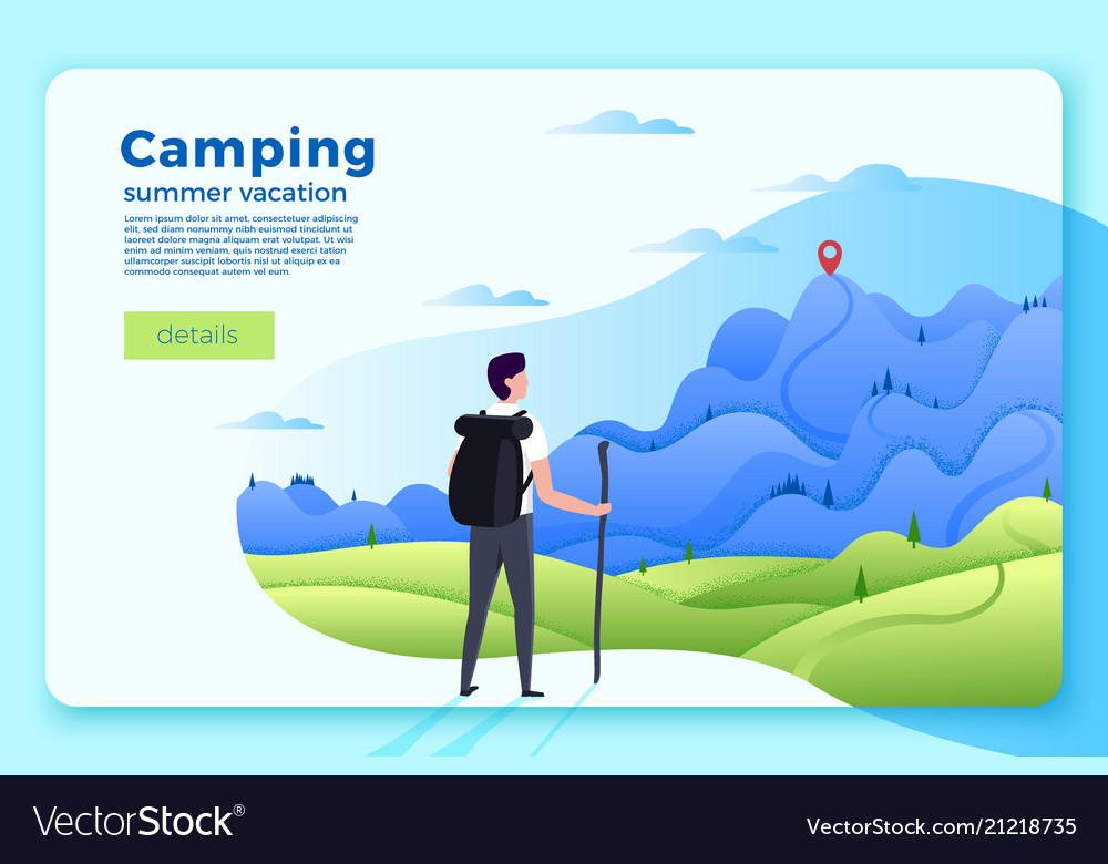 Camping banner man looking on forest mountains