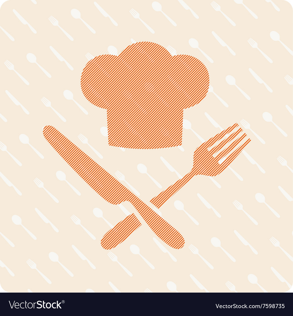 Chefs hat with knife and fork