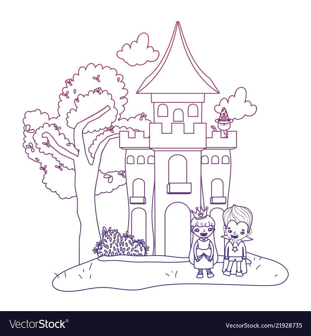 Degraded Outline Horror Castle With Children Vector Image