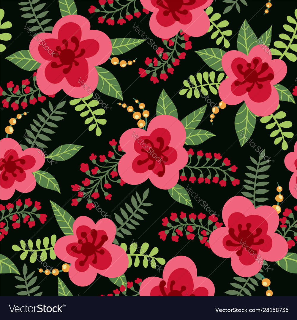 Floral pattern yellow flowers plants branches