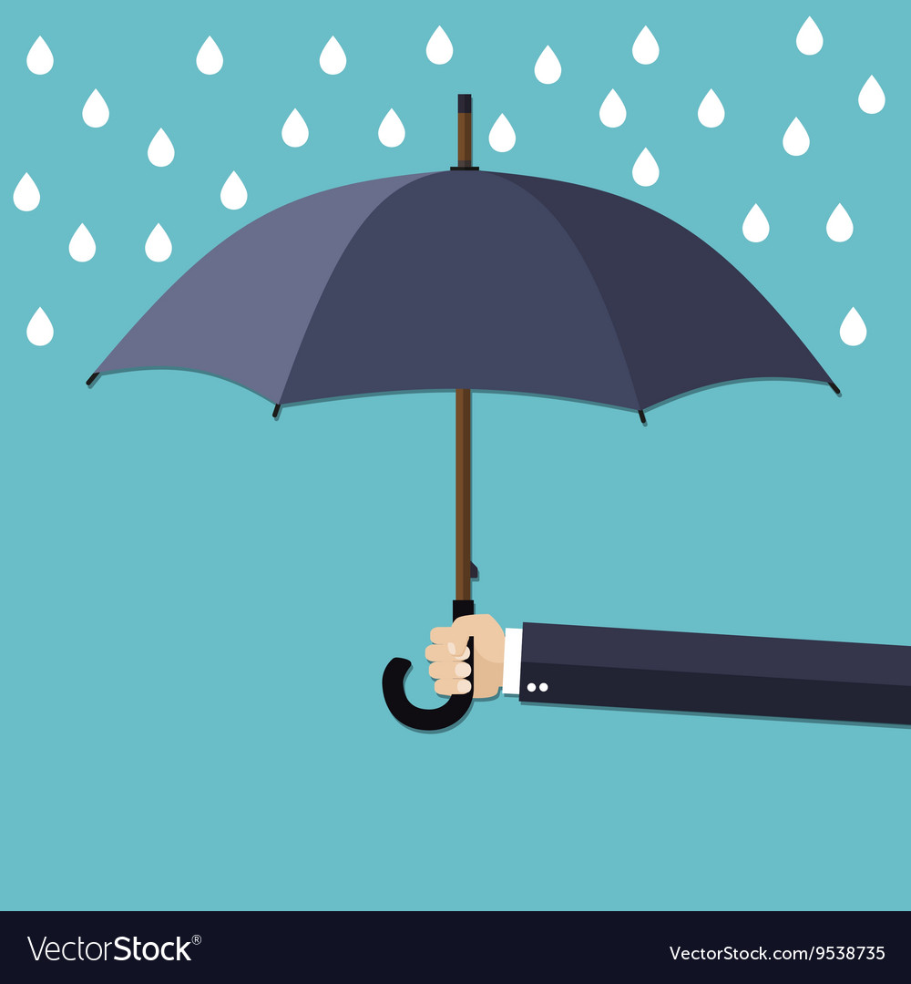 hand of man holding umbrella under rain royalty free vector