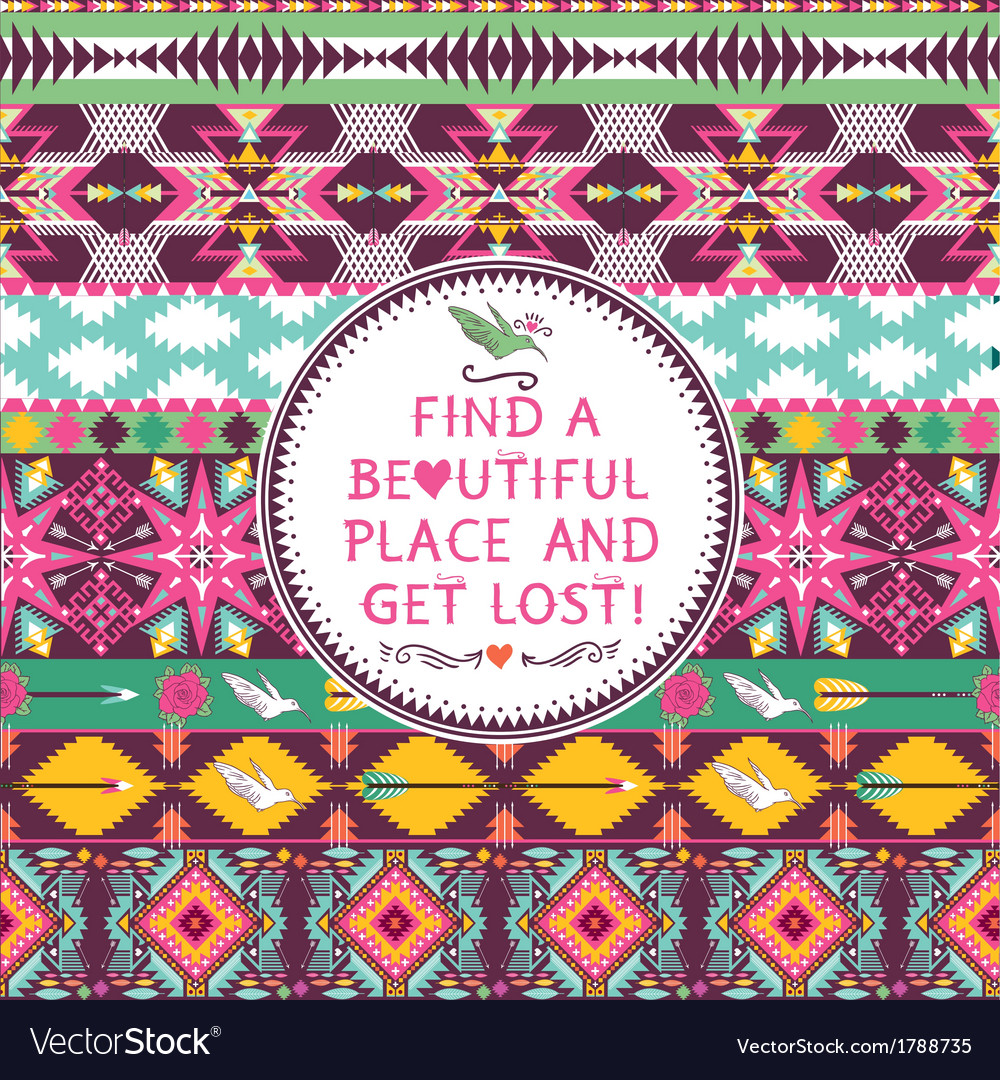 Hipster seamless colorful tribal pattern with