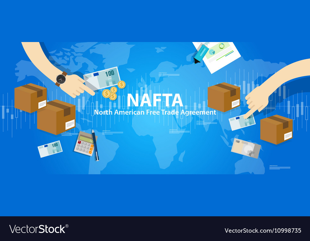 Nafta North American Free Trade Agreement Vector Image