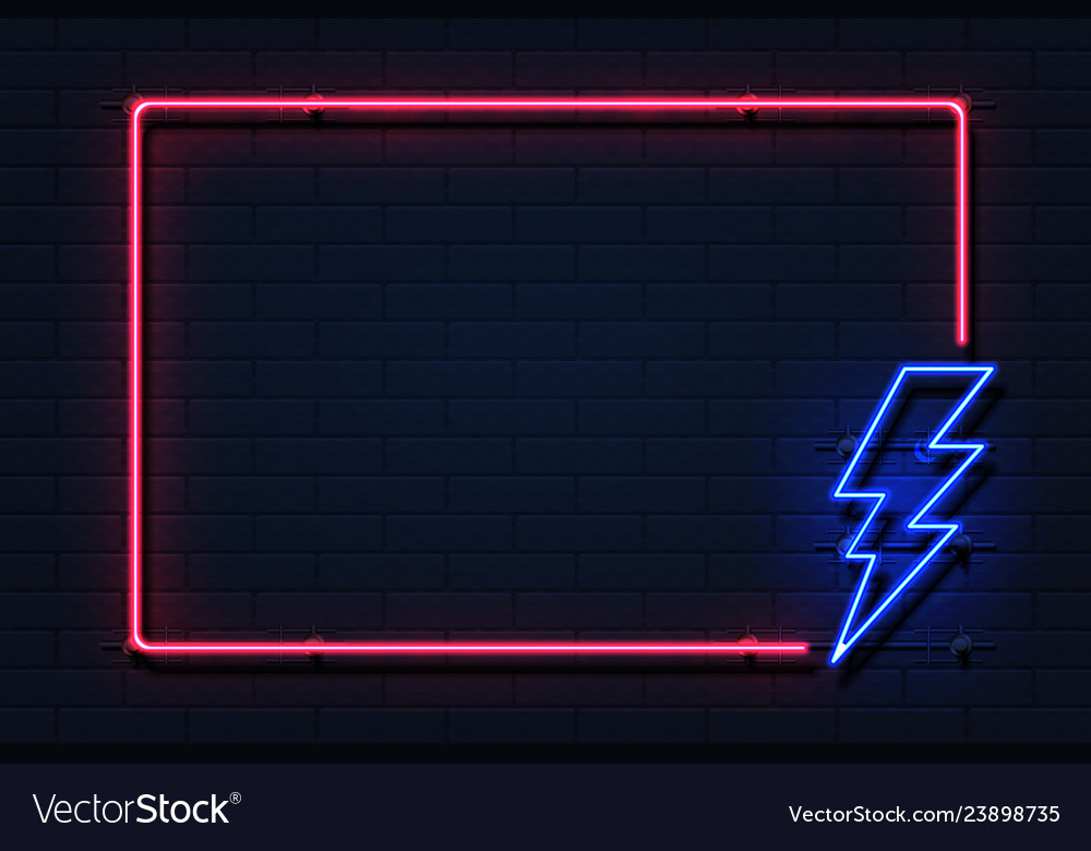 Neon lightning frame electricity power flash logo
