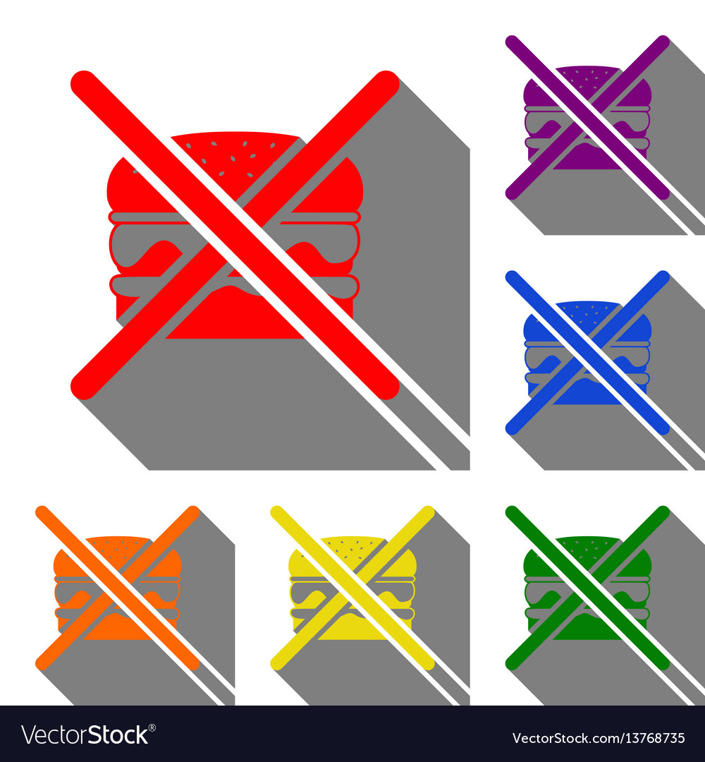 No burger sign set of red orange yellow green vector image