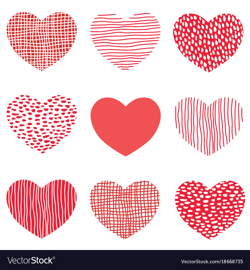 Red hearts pattern of hand drawn sketch heart