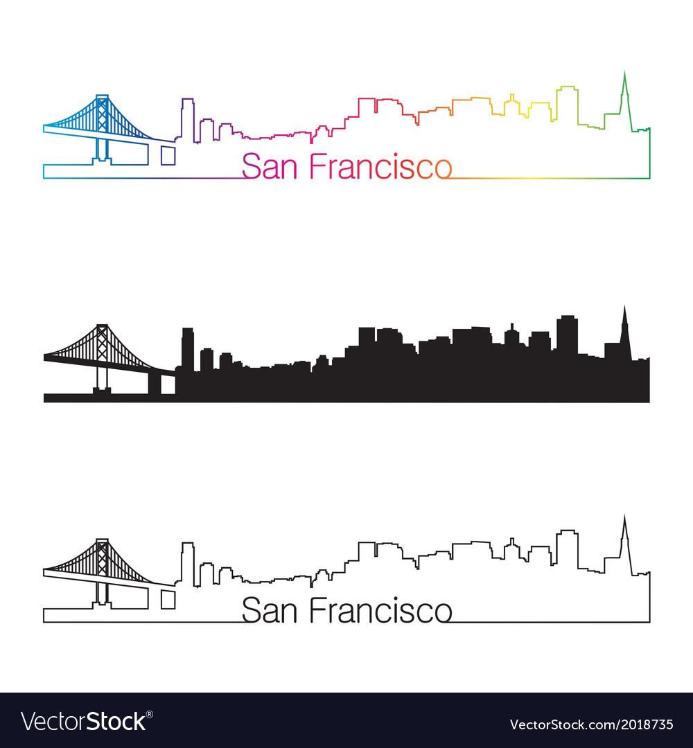San Francisco skyline linear style with rainbow