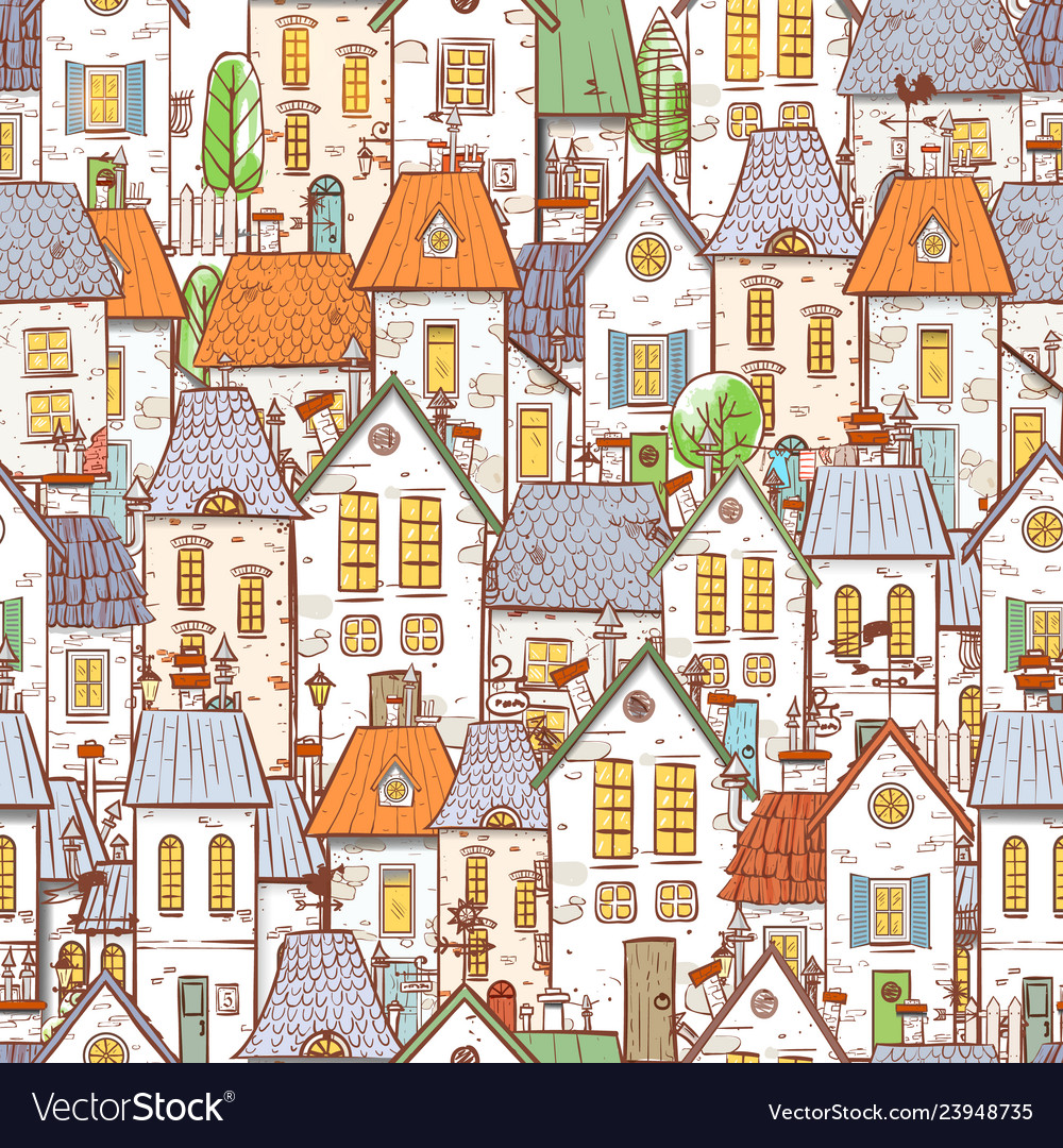 Seamless pattern with cartoon doodle houses can