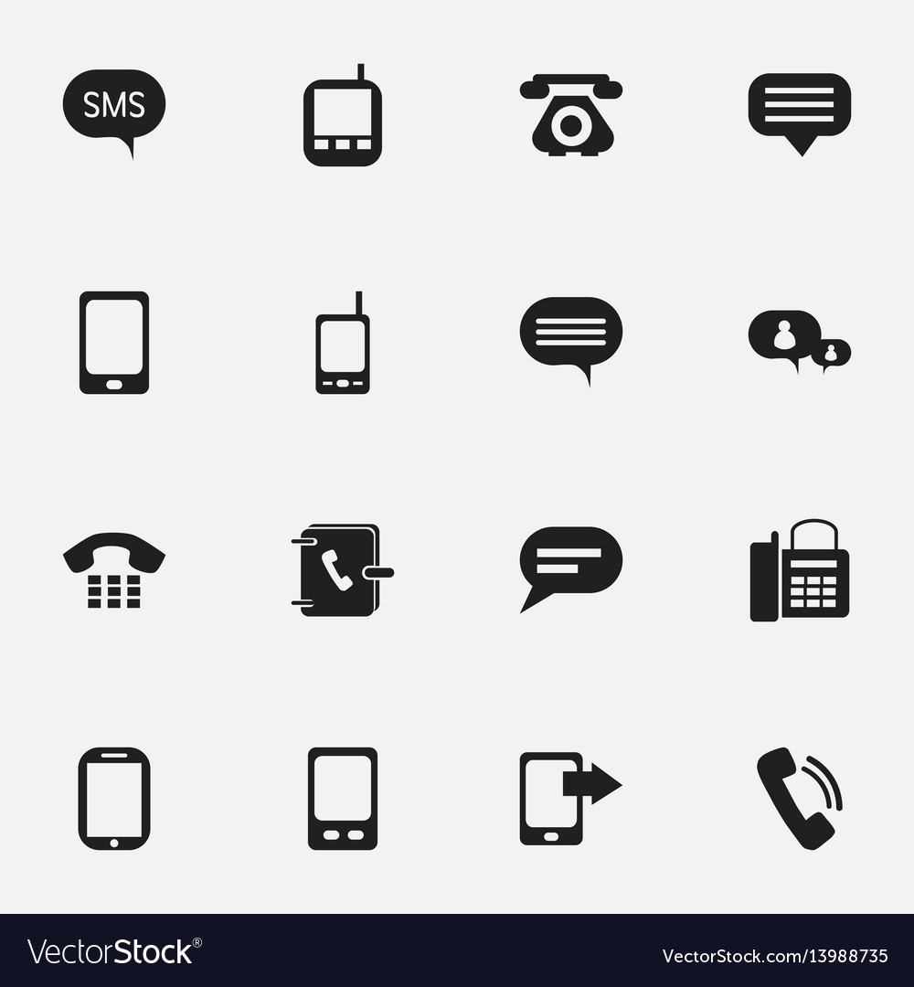 Set of 16 editable phone icons includes symbols