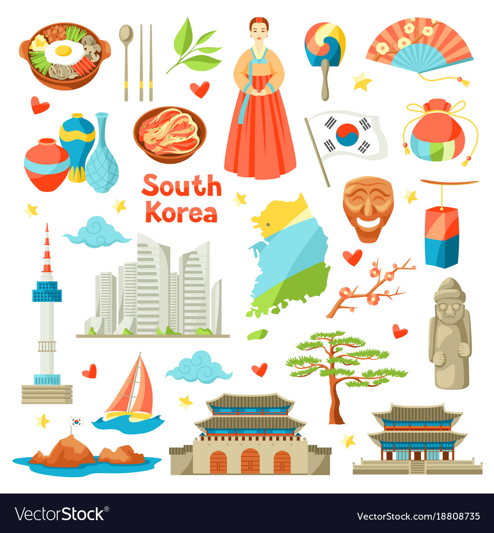 South Korea Icons Set Korean Traditional Symbols Vector Image
