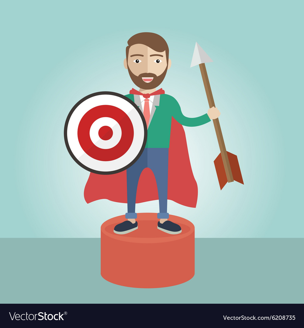 Target businessman superhero leader strategy